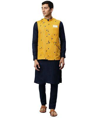 yellow cotton Jacket Kurta Churidar Set
