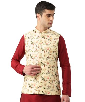 Cream Art Silk Jacket