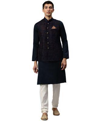 Blue silk Jacket Kurta Churidar Set
