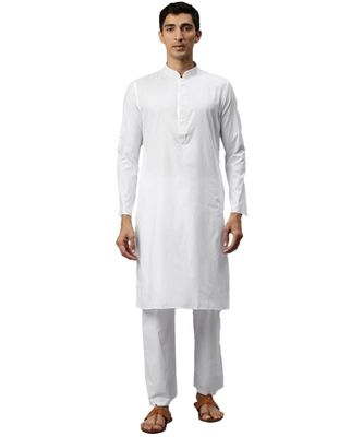 White cotton Kurta Pajama Set