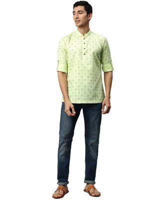 Green cotton Short Kurta