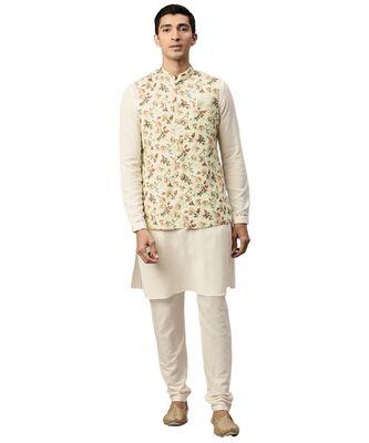 Cream cotton Jacket Kurta Churidar Set