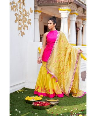 Pink Polkadot Halter Kurta with Banarasi Dupatta with sequin and feather work at the border