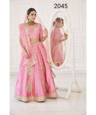 embroidered silk pink  lehenga