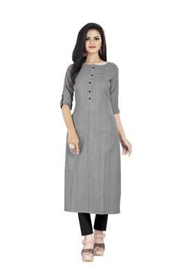 Grey plain cotton ethnic-kurtis
