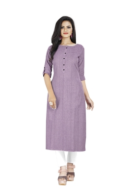 Purple plain cotton ethnic-kurtis