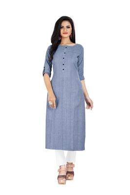 Dark-blue plain cotton ethnic-kurtis