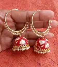 RozMili Handmade Red color Meenakari design Enamel  Gold Plated Bali Jhumki Earrings Red designer-jewellery