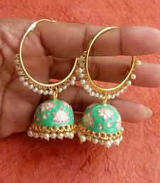 RozMili Handmade Mint color Meenakari design Enamel  Gold Plated Bali Jhumki Earrings