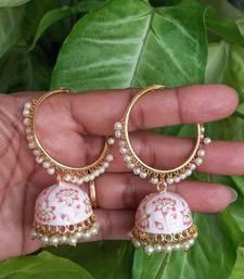 RozMili Handmade Lt pink color Meenakari designer Enamel  Gold Plated Bali Jhumki Earrings