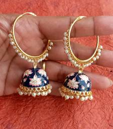 RozMili Handmade Black color Meenakari design Enamel  Gold Plated Bali Jhumki Earrings