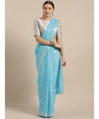 KALASATI BLUE LINEN BLEND WOVEN DESIGN BHAGALPURI SAREE