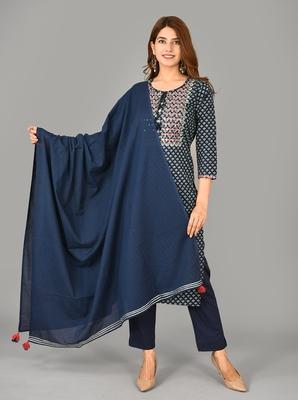 Blue Printed Cotton Stitched Kurta Pant Dupatta Set