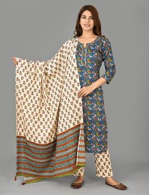 KAAJH Blue Floral Printed Cotton Suit Set
