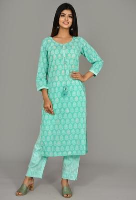 KAAJH Green Printed Cotton Kurta Pant Set