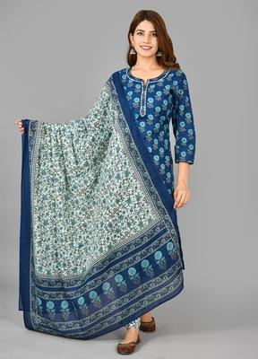 KAAJH Blue Printed Cotton Suit Set