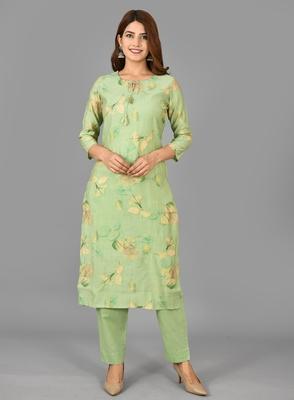 KAAJH Green Printed Modal  Suit Set