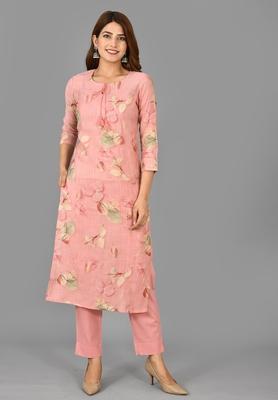 KAAJH Pink Printed Modal  Suit Set