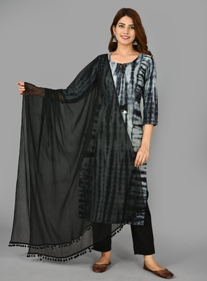 KAAJH Black Tie dye Cotton Suit Set