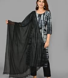 Black Tie dye Cotton Stitched Kurta Pant Dupatta Set