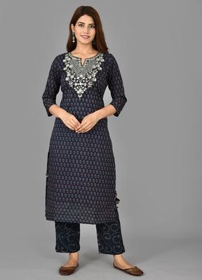 KAAJH Blue Printed Cotton Kurta Pant Set