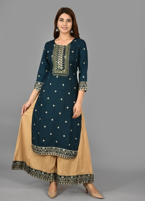 KAAJH Blue Embellished Rayon Kurta Sharara Set