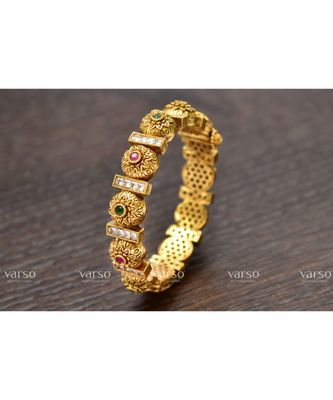 Varso Ruby and Emerald and White Antique Gold Plating Bangle