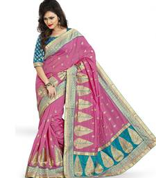 Buy Pink Embroidered Art silk saree with blouse art-silk-saree online