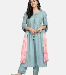 BLUE EMBROIDERED KURTA WITH PANT AND DUPATTA