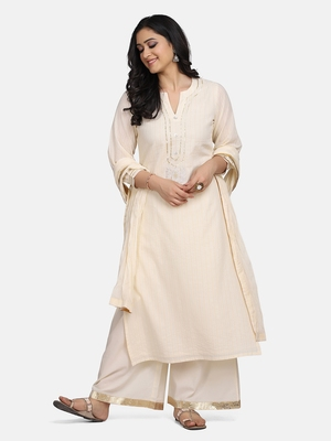 OFF WHITE EMBROIDERED KURTA WITH PALAZZO AND DUPATTA
