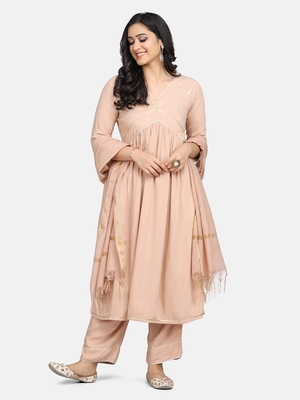 BEIGE EMBRODIERED KURTA WITH PANT AND DUPATTA