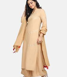 BEIGE  LACE ATTACHED KURTA WITH PALAZZO AND DUPATTA