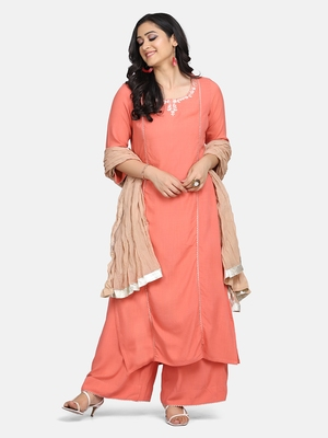 CORAL  EMBROIDERED KURTA WITH PALAZZO AND DUPATTA