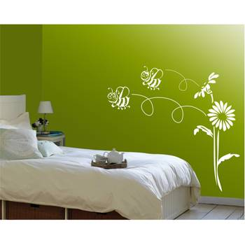 bee and flowers - wall art