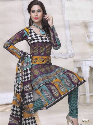 Cotton Dress Material Elegant Designer Unstitched Salwar Suit D.No 12035