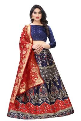 Red Jacquard semi stitched Lehenga Choli For Women.