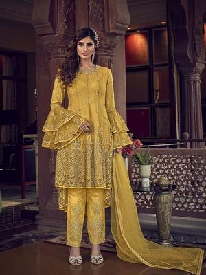 Yellow embroidered net salwar