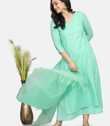 MINT GREEN EMBROIDERED KURTA WITH INNER AND OUTER AND DUPATTA