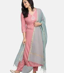 PINK EMBROIDERED KURTA WITH PANT AND DUPATTA