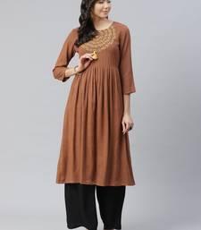Brown plain rayon kurtas-and-kurtis