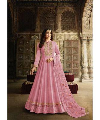 pink embroidered art silk unstitched salwar
