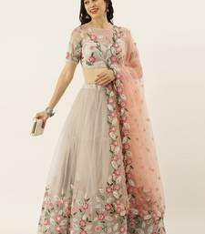 Grey Colour Net Circular Semi-Stitched Lehenga and Unstitched Blouse With Dupatta