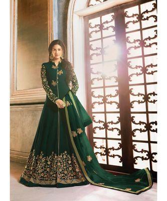 green embroidered georgette semi stitched salwar