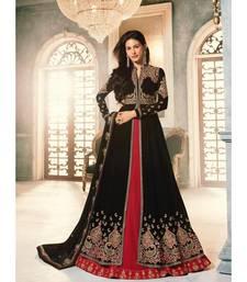 black embroidered georgette semi stitched salwar