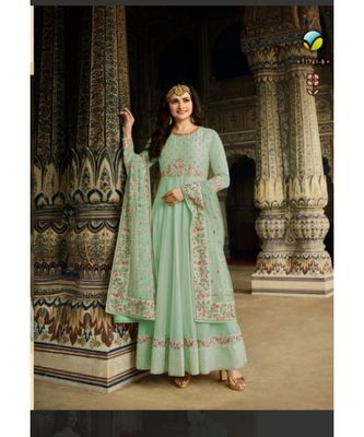 turquoise embroidered silk semi stitched salwar