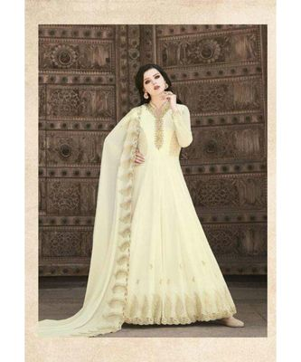 White embroidered georgette semi stitched salwar