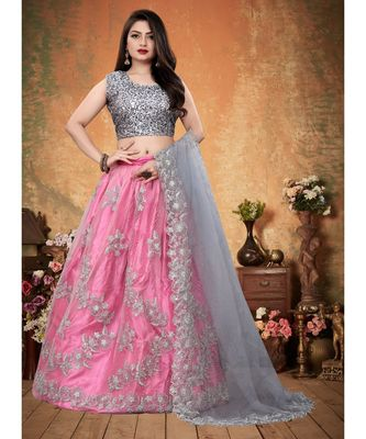 Silver and Pink Colored Partywear Designer Embroidered Net with silk Lehenga Choli