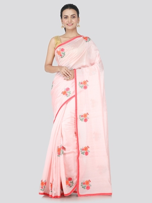 Red embroidered pure dupion silk saree with blouse