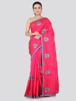 Pink embroidered pure dupion silk saree with blouse