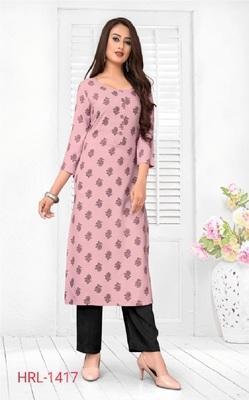 Pink printed rayon ethnic-kurtis